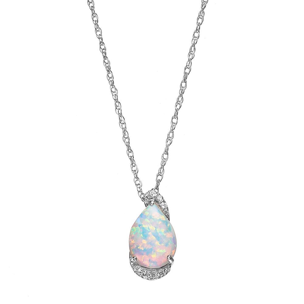 """Sterling Silver Lab-Created Opal & Lab-Created White Sapphire Teardrop Pendant, Women's, Size: 18"""""""