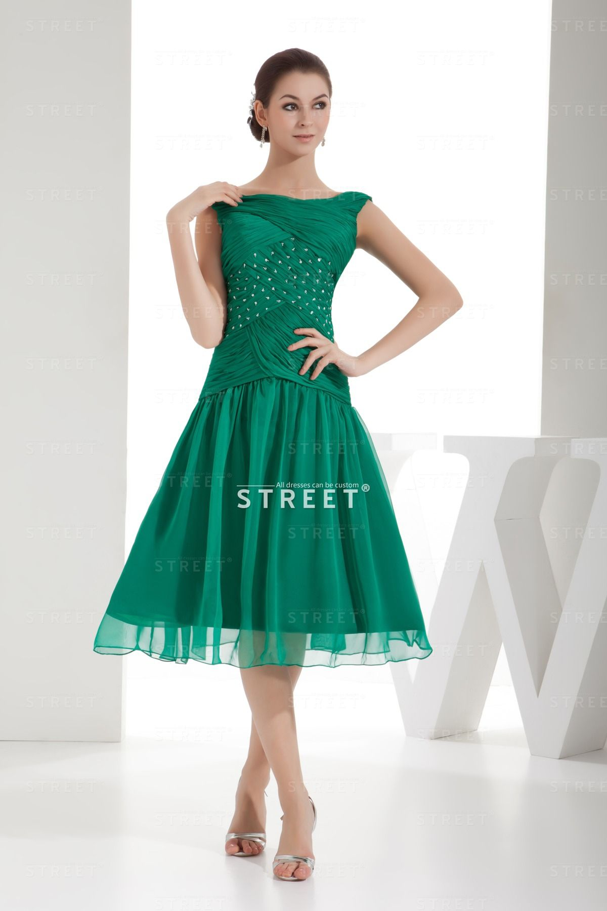 Dressy Discount Green Sequin V-neck Ruched Knee-length Gothic Sweet ...