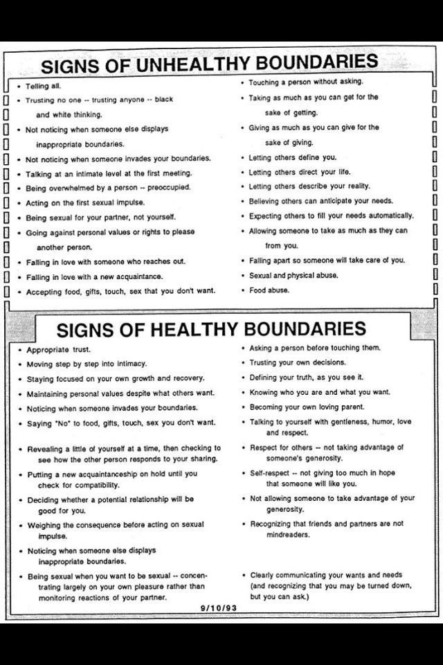 Healthy and unhealthy boudaries. | Self Esteem and Self-Care | Pinterest