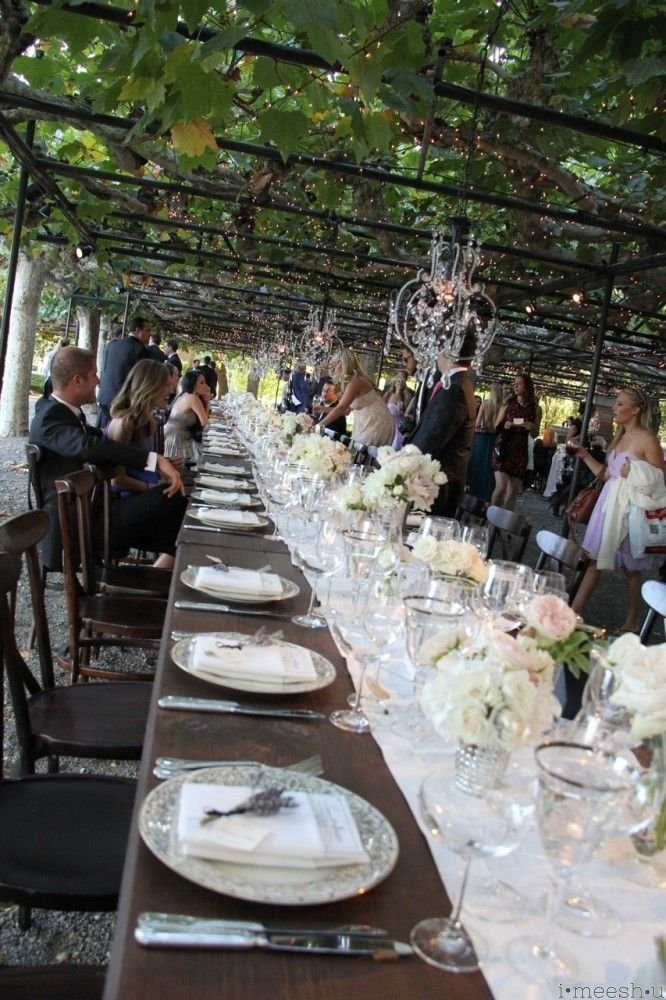 Beautiful Long Family Style Dinner Table At A Gorgeous Romantic