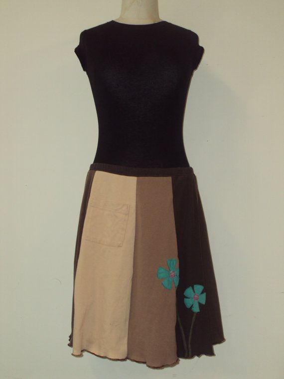 Upcycled recycled appliqué brown tshirt skirt by sardineclothing, $60.00