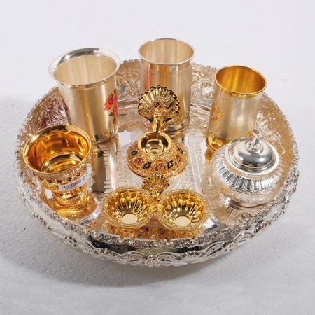 Pooja thali | Silver Shopping | Silver pooja items, Silver
