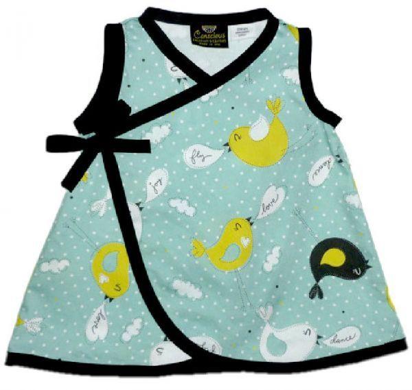 ORGANIC Playful Tweets Baby or Toddler Kimono Dress