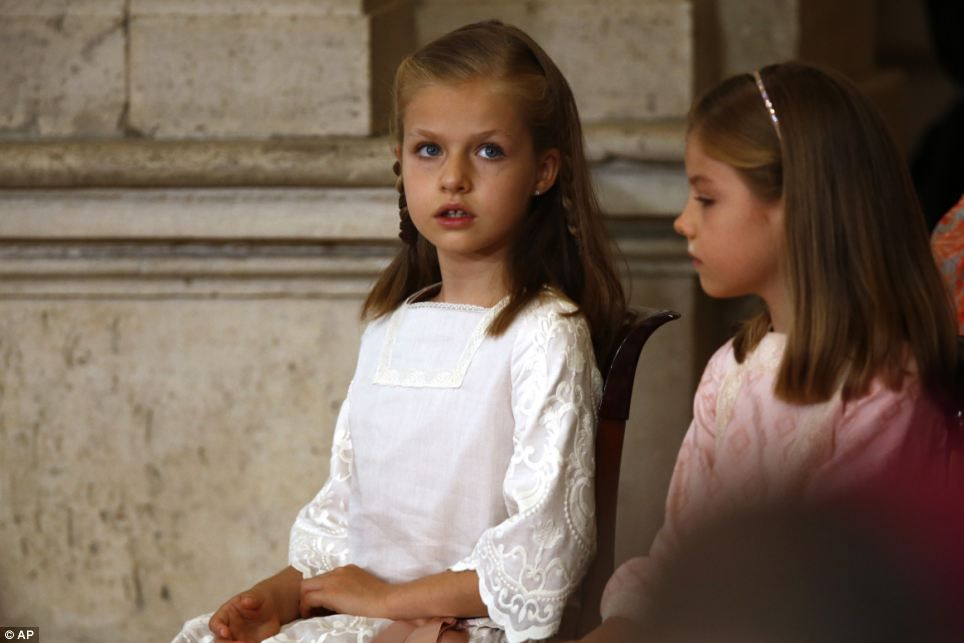 Responsibility: Eight-year-old Leonor, left, has become the youngest direct heir to any th...