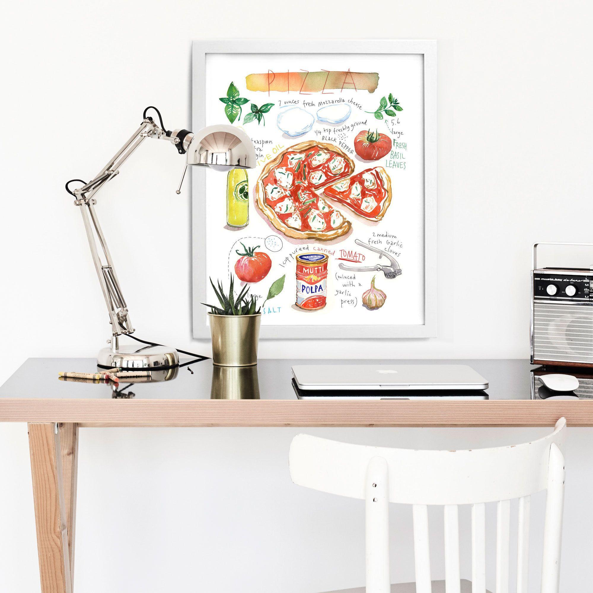 Pizza Recipe Print Food Poster Kitchen Art Italy Wall Art Italian Themed Gift Watercolor Painting Pizza Illustration Kitchen Decor Italy Wall Art Food Poster Kitchen Art