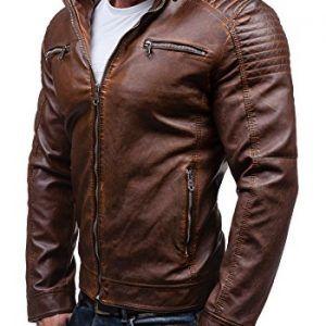 Como usar una chaqueta de cuero cafe hombre