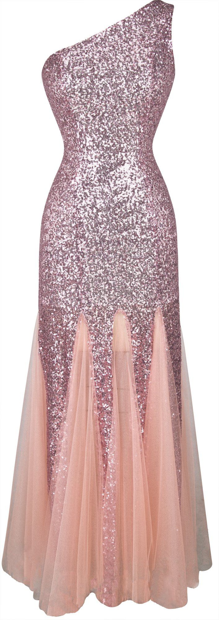Angel-fashions Women's One Shoulder Twinkling Sequined Mesh Long Evening Dress Small
