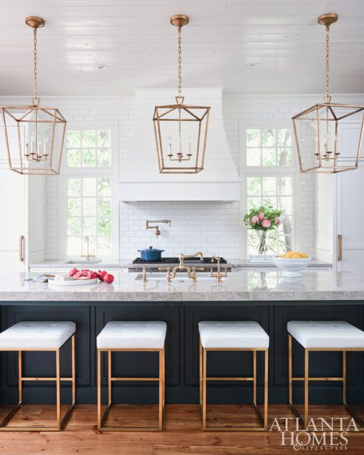 Navy Blue White And Gold Kitchen Home Decor Kitchen Beautiful Kitchens Home Kitchens