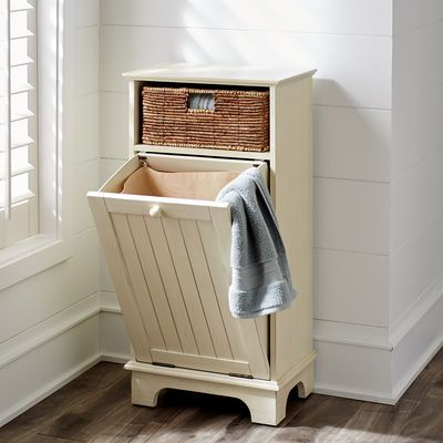 Holtom Hamper Antique White Laundry Hamper Bathroom Storage Hamper Cabinet