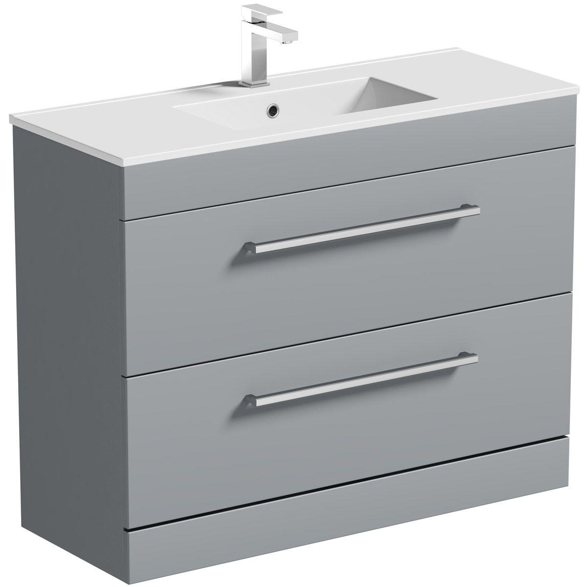Orchard Derwent Stone Grey Floorstanding Vanity Unit And Ceramic Basin 1000mm Vanity Units Vanity Drawers Basin