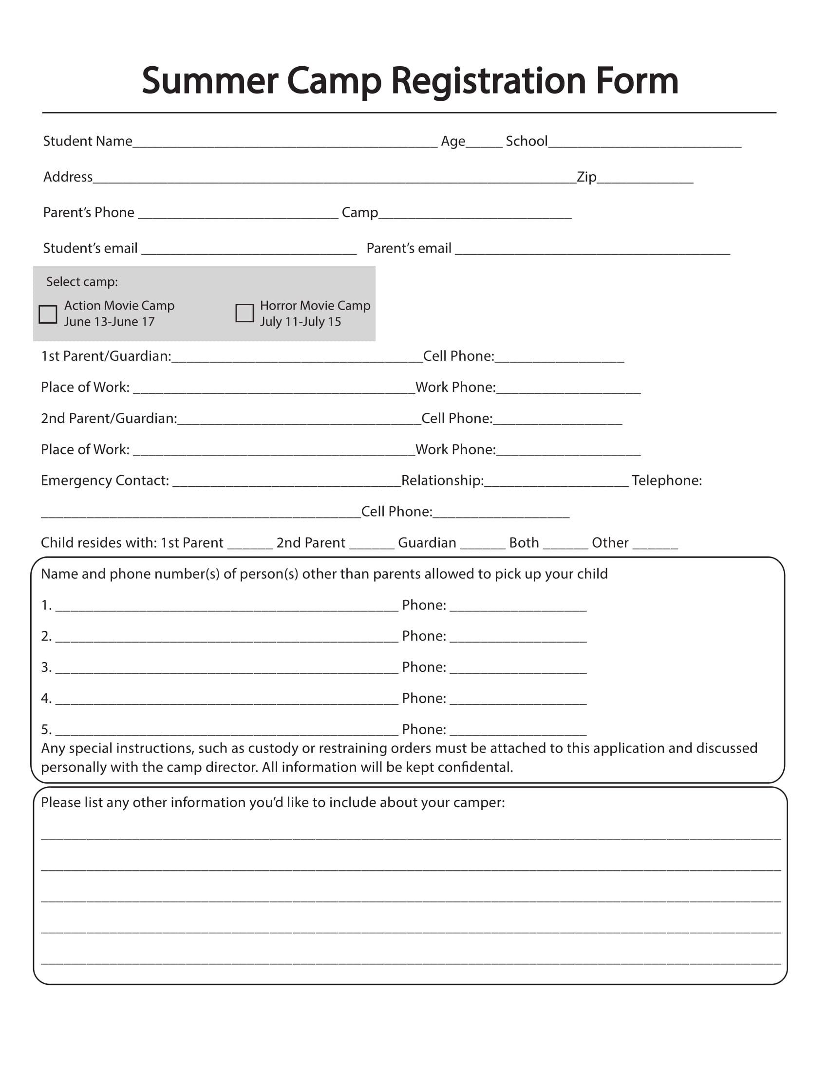 Free 10 Printable Summer Camp Registration Forms Pdf With Regard To Camp Registration Form Template Word Cumed Registration Form Budget Template Templates