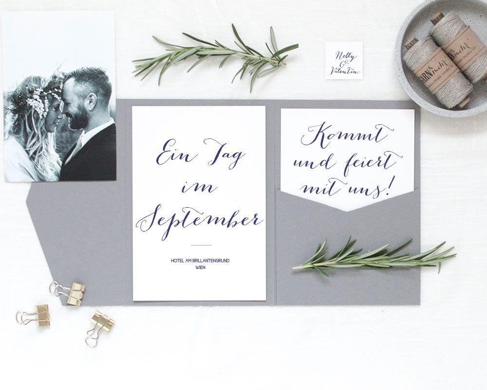 Pocketfolds Graubr Für Einladungen Und Dankeskarten In