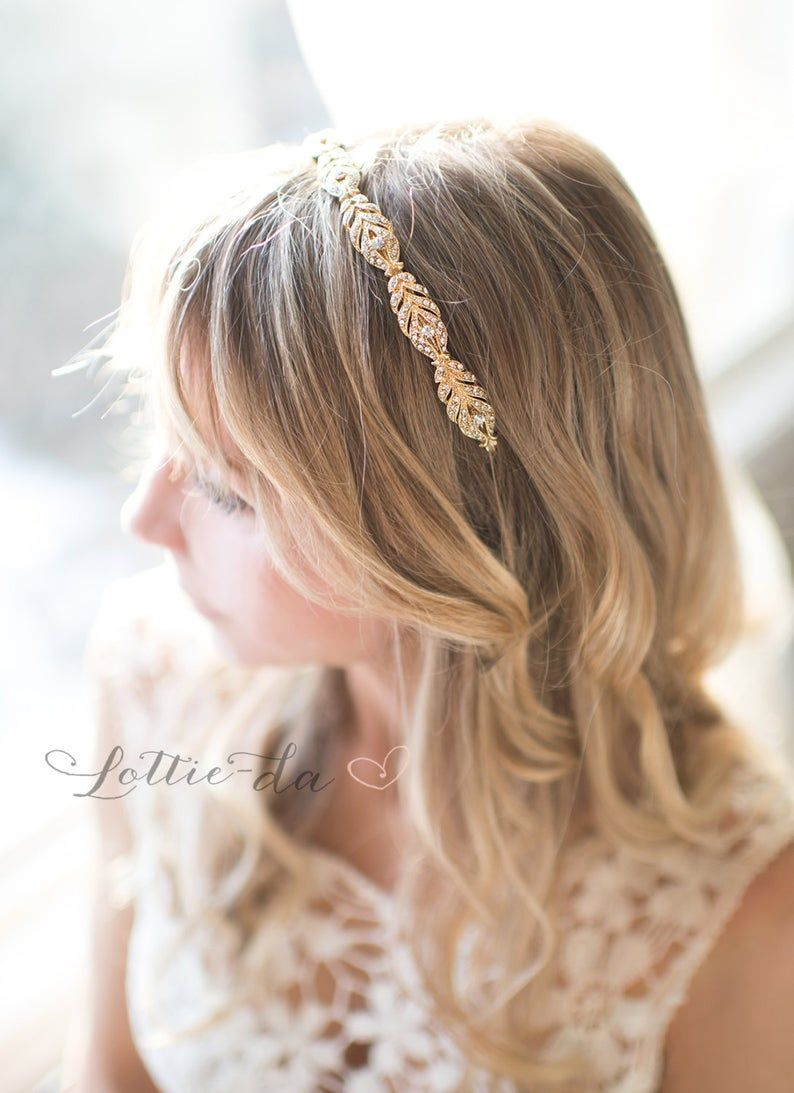 Rose Gold Vintage Style Wedding Headband, Wedding Headband, Vintage Thin Hairband, Rhinestone Wedding Head band, Bridal Hairband – 'GIA'