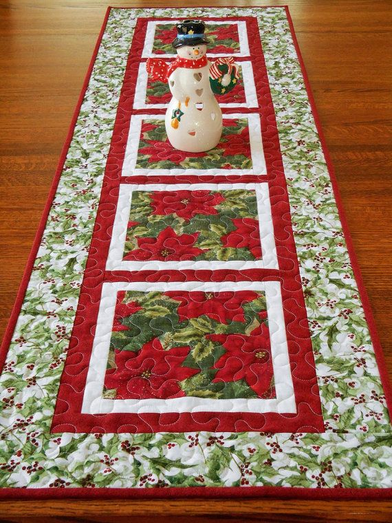 Christmas Table Runner And Topper Set In Traditional Red And