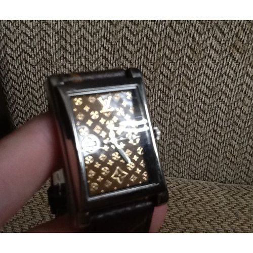 1e3b0da57b76 GREAT LOUIS VUITTON ITALY PLAQUE OR G20M QUARTZ WOMAN WATCH GENUINE LEATHER  BAND. Louis Vuitton