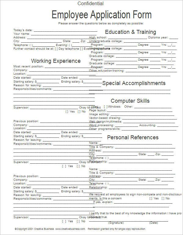 Free Blank Employment Application Template Printable Microsoft