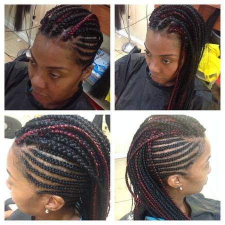 Braided Mohawk With Individual Braids In The Middle 60 00 2 Packs