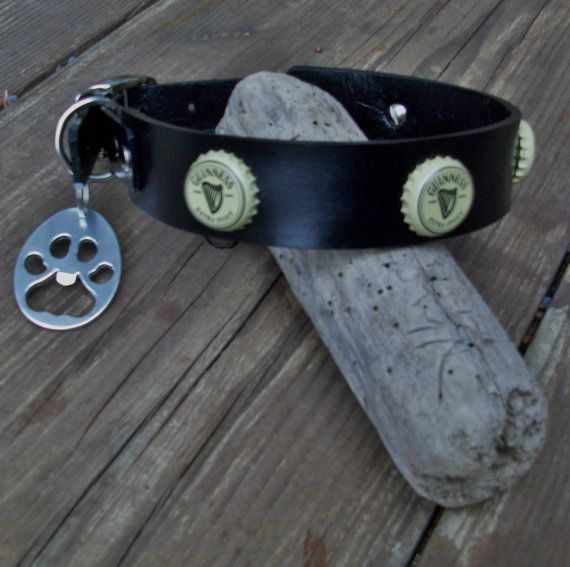 b8b90f9e2ae Guinness Beer Cap Leather dog collar with paw by StickDogLeather ...