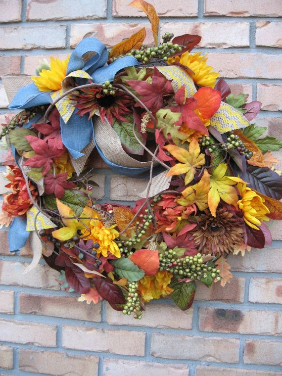 TWIGS AND BERRIES fall wreath with leaves by faucettandflame, $49.99