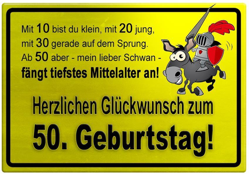 Gelbes Schild Mit Esel Und Ritter Zum 50 Geburtstag