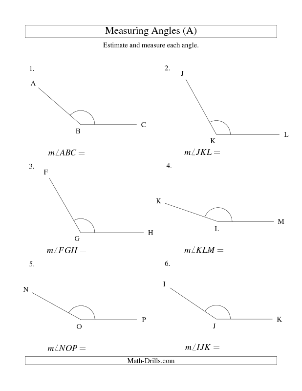 New 2013-01-21! Measuring Angles Between 90° and 175° (A) | math ...