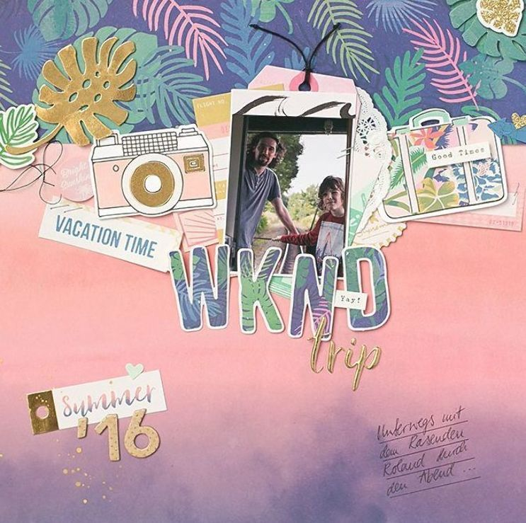'WKND trip' Scrapbooking Layout with Oasis Crate Paper