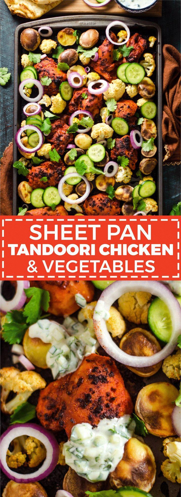 Sheet-Pan Tandoori Chicken & Vegetables - Host The Toast #tandoorichicken