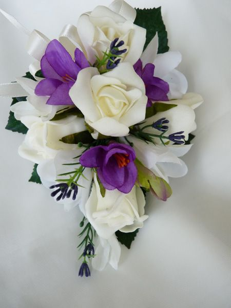 Ivory Roses With Purple Freesia And A Touch Of Purple