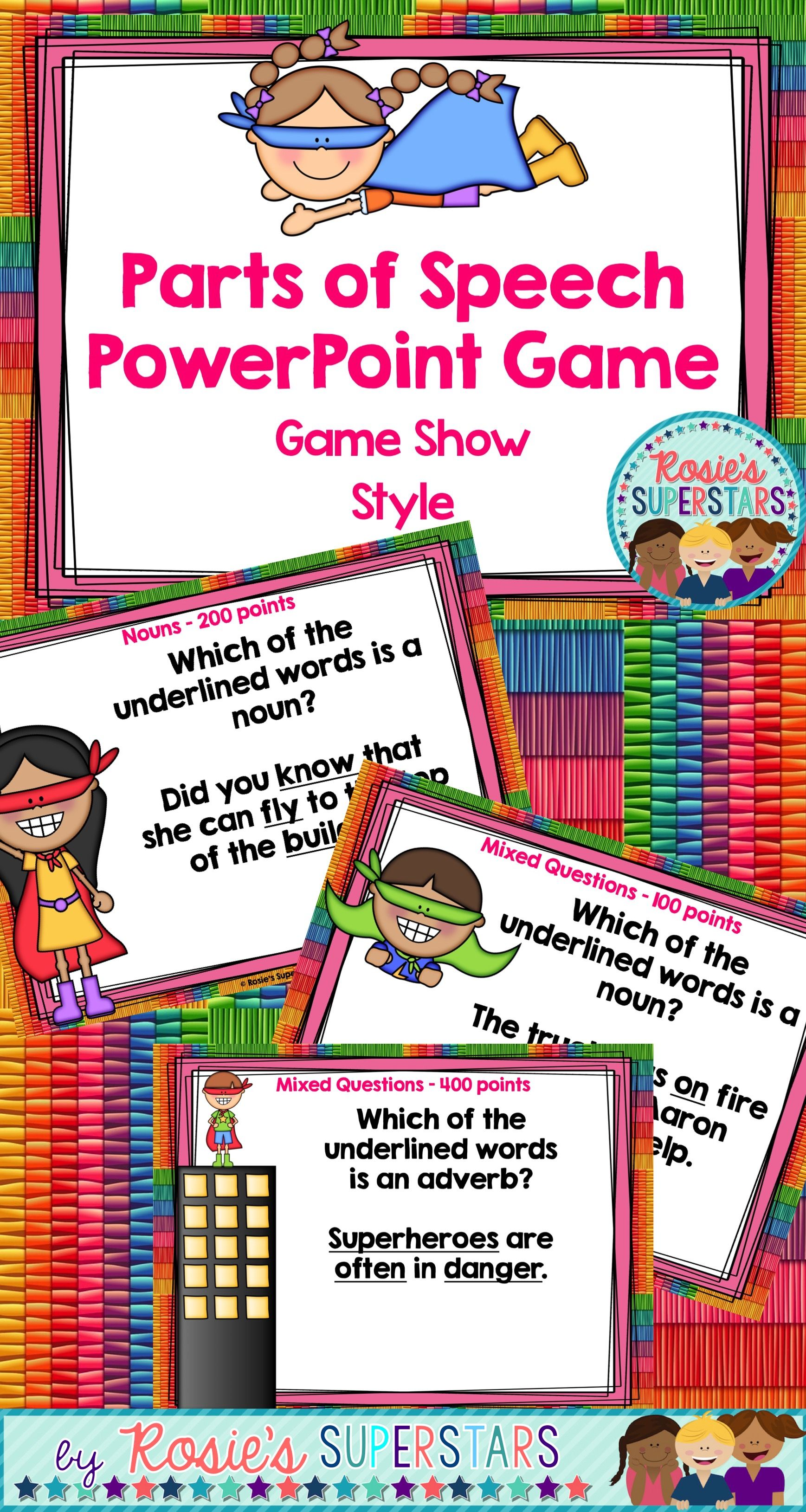 Parts Of Speech Powerpoint Game Nouns Verbs Adjectives
