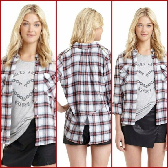 c4d8013015b4d SAM EDELMAN This is such a cool top! Zippered cold shoulder plaid