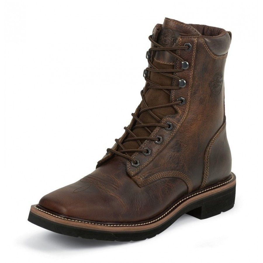 Justin Men S Work Boot Rugged Tan Lace Up Square Toe Steel