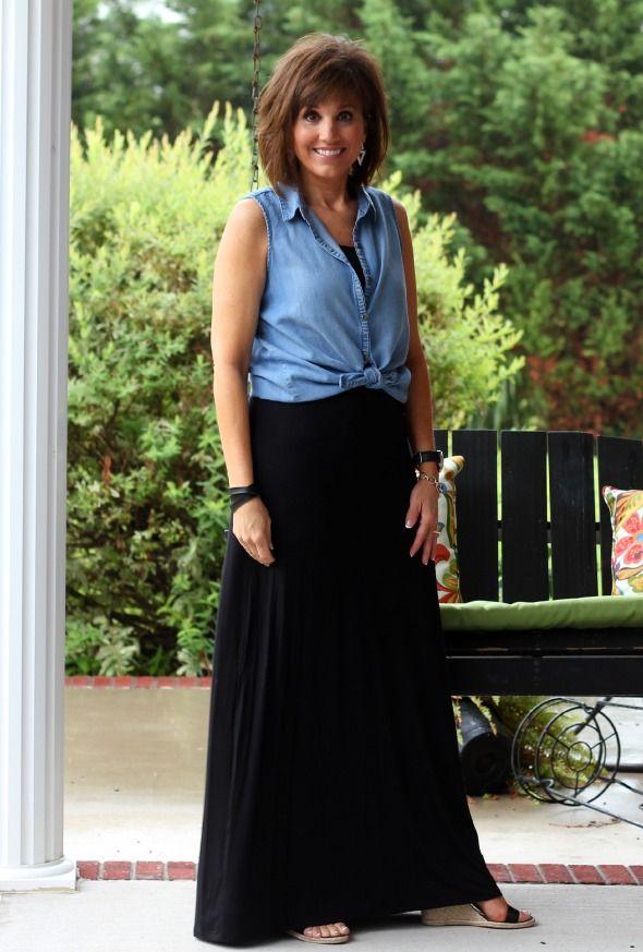bd61db5c83a6 Summer Fashion-Black Maxi with Chambray Shirt