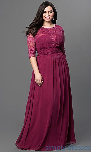 Three Quarter Sleeve Long Sweetheart Gown Plus Size Pinterest