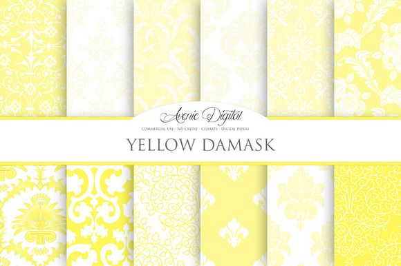 Yellow Damask Digital Paper by AvenieDigital on Creative Market