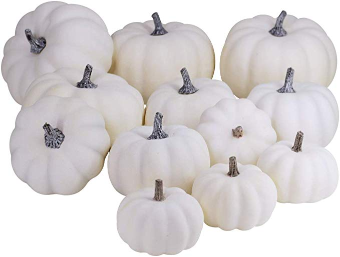 Amazon Com Besttoyhome 12 Pcs Assorted Sizes Rustic Harvest White Artificial Pumpkins For Hallo Artificial Pumpkins Fall Thanksgiving Decor Pumpkin Fall Decor
