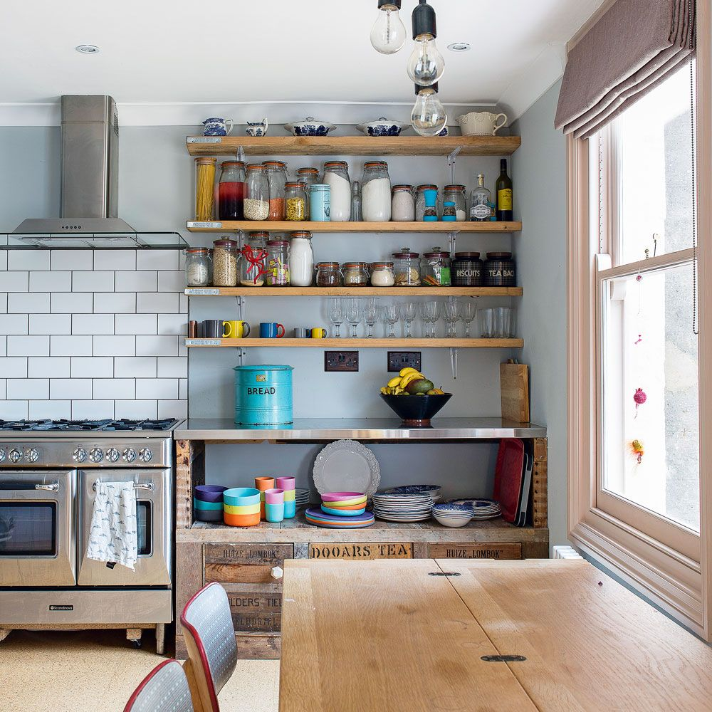 Shabby Chic Kitchen Ideas  Open Shelving Industrial Style Pleasing Kitchen Shelves Designs Review