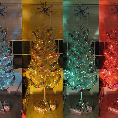 Rainbow Assortment Of Vintage Aluminum Christmas Trees With Color