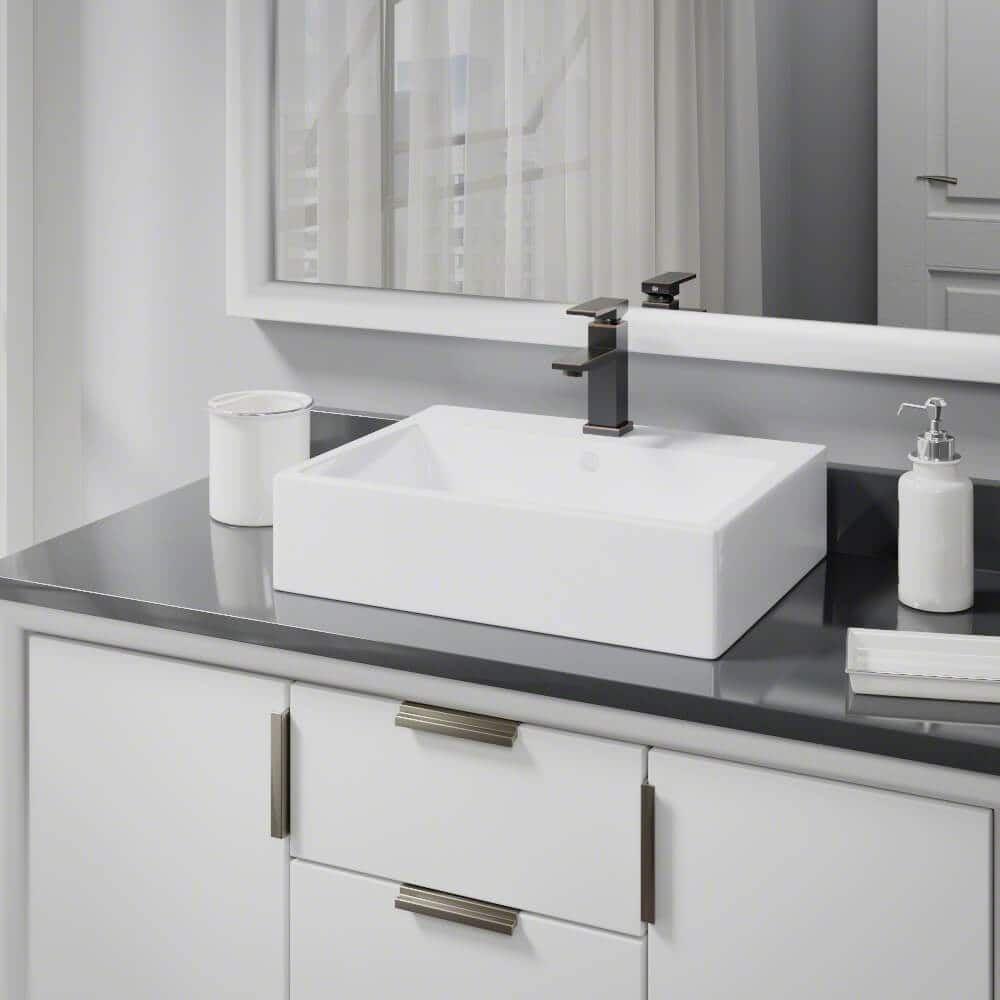 Rene by Elkay R2-5018-W-R9-7002 White Porcelain Vessel Sink with ...
