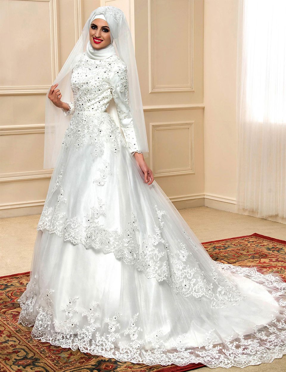 f379e4ab4fda Find a 2016 Pretty Ivory Muslim Wedding Dresses Satin Beaded Lace Long  Sleeve Wedding Dress Muslim Tiered Ball Gown Bridal Dresses Online Shop For  U !
