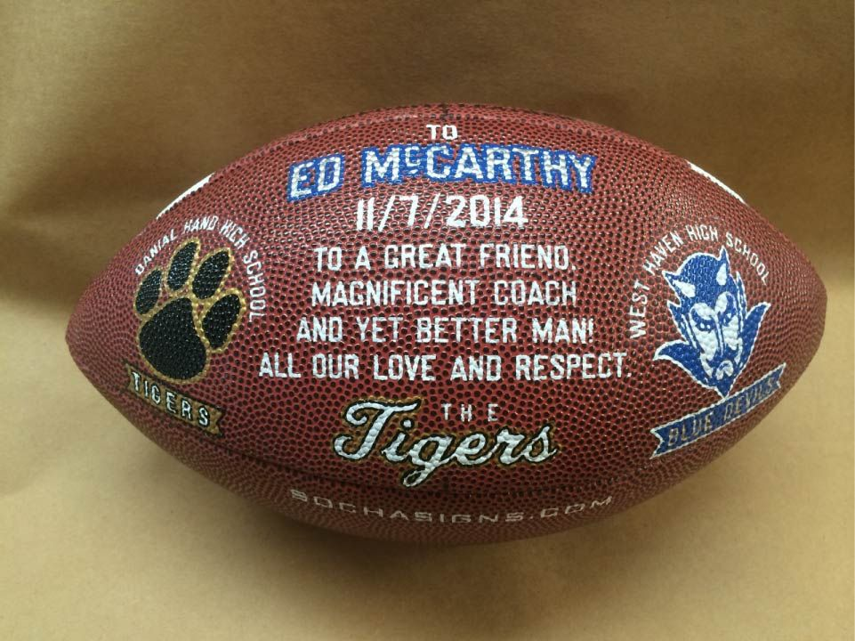 Football coach retirement gift hand painted football for