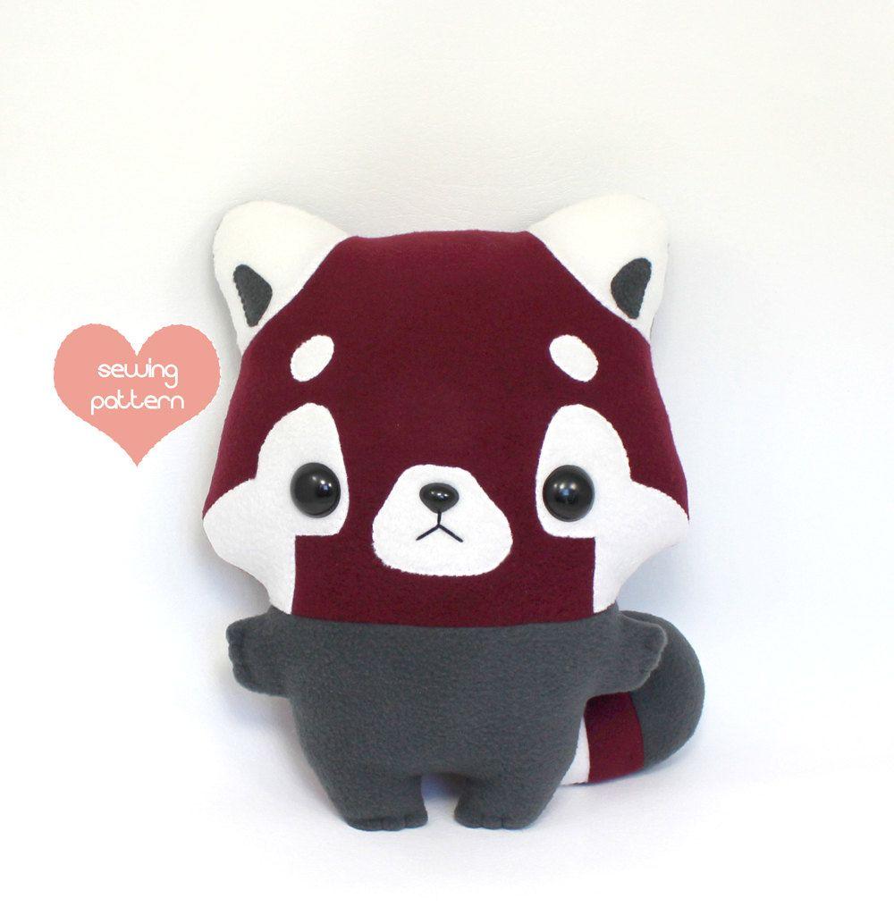 PDF sewing pattern - Red Panda stuffed animal - easy beginner cute ...