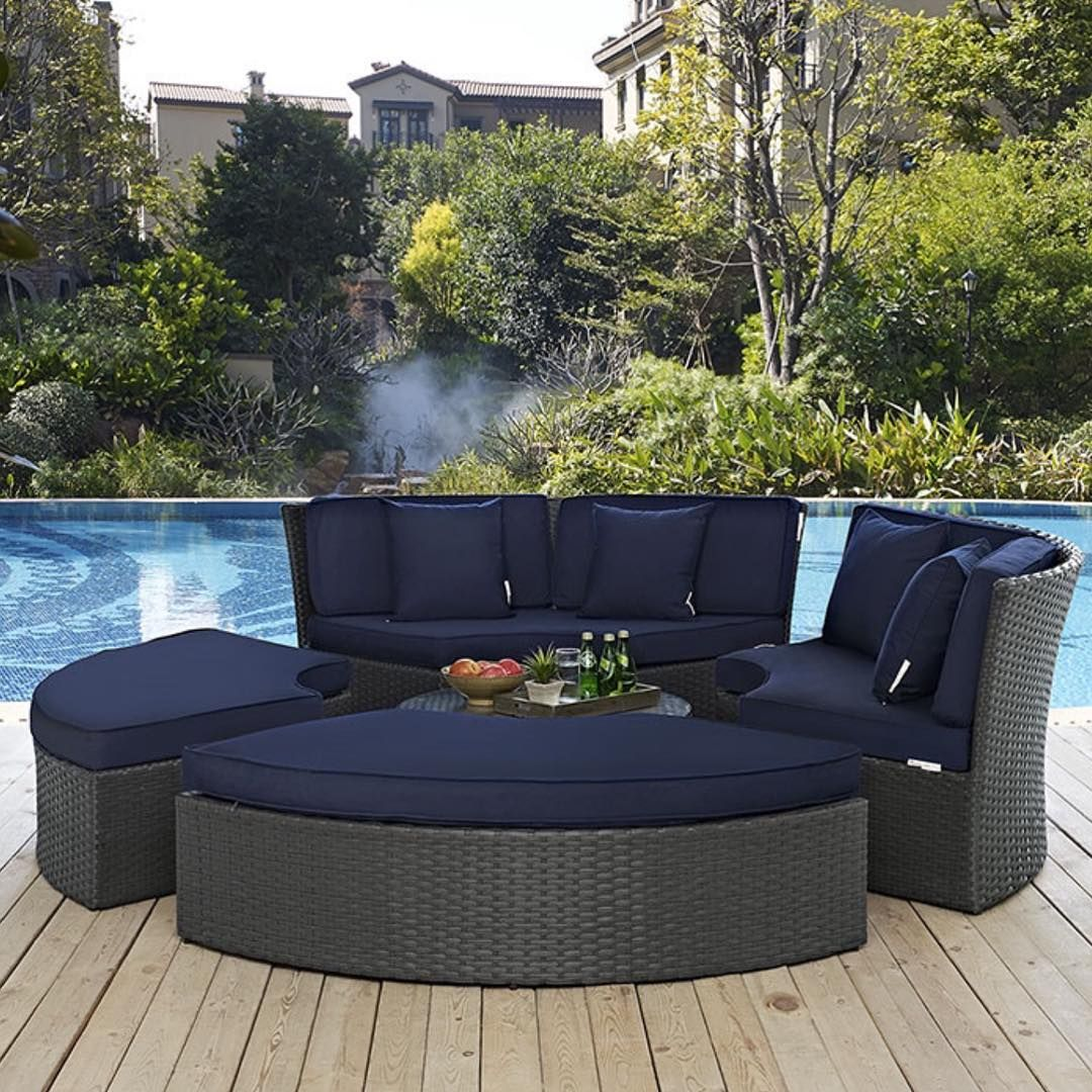 It Would Be Great To Relax On The Alsina Outdoor Patio Set I Find That The Navy Blue Canvas Sunbrella Fabric In 2020 Outdoor Patio Set Patio Style Outdoor Patio Decor