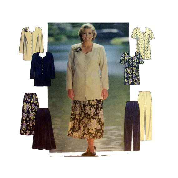 Women\'s Tunic Top, Flared Skirt, Straight Leg Pants Sewing Pattern ...