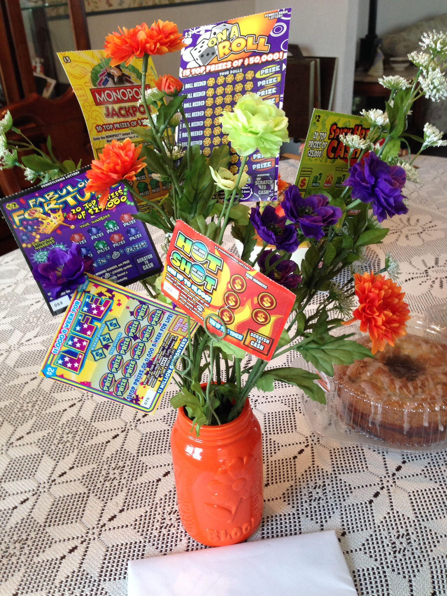 Mother's Day scratch-off Lottery ticket bouquet  Made this for
