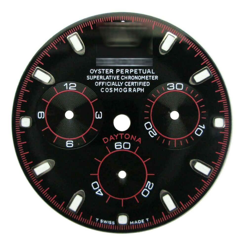 Black and red custom dial fits rolex daytona chronograph