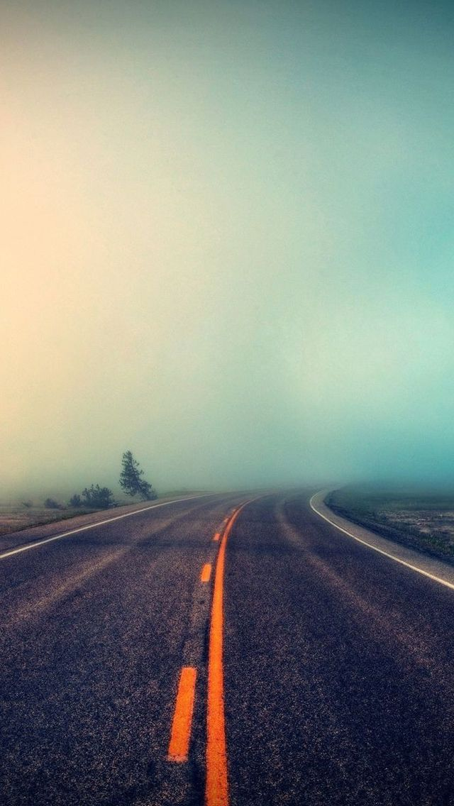 Foggy Road #iPhone 5s #Wallpaper | Download more in http://www.ilikewallpaper.net/iphone-5-wallpaper/.