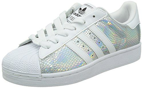 adidas superstar 2 w le donne, di colore bianco / nero / argento, 8 noi adidas
