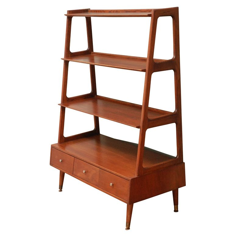 Mid-Century Teak Bookshelf - Mid Century Modern Mcm Saginaw Wall Unit Bookcase Mid Century