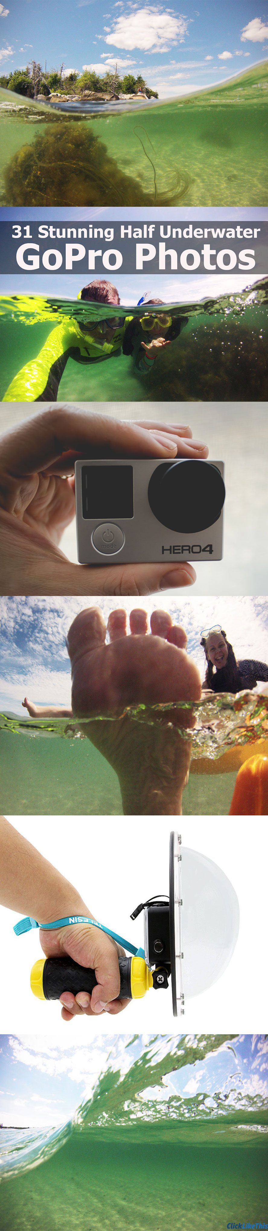 6 Tips for shooting great half underwater GoPro photos. #gopro #underwater #underwaterphotography