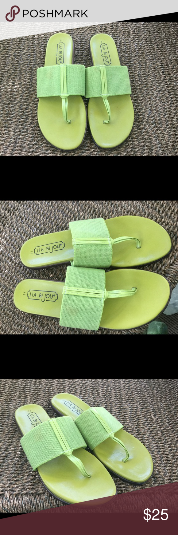 Size 11 LIA BIJOU SANDALS  Beautiful! Elastic band across the top of the  foot. Thong sandal. Beautiful color. Sz 11. Hardly noticeable smudge area  on the ... 0ae9d35384e6